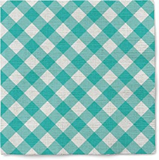 Graphique Gingham Teal Cocktail Napkins – Pack of 20 – Soft, Triple-Ply, Disposable Beverage Napkins, Great for Parties, P...