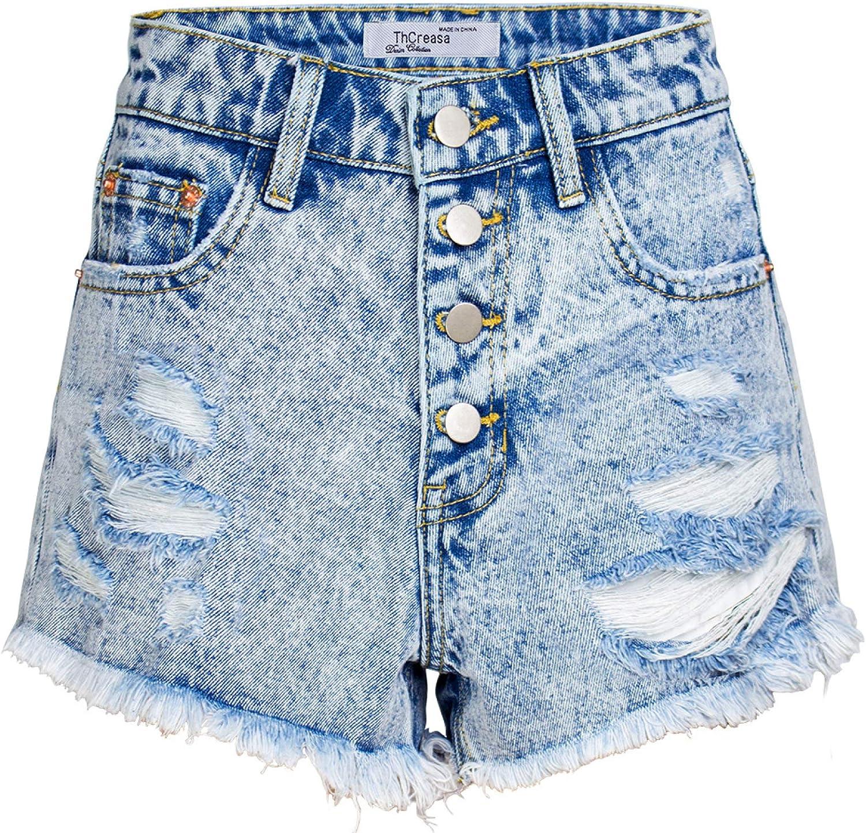 Women's Multi-Button Denim Shorts Fashion Ripped Streetwear Washed Trend