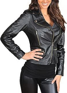 HOL Ladies Cross Zip Slim Fit Biker Style Leather Jacket Nadine Black