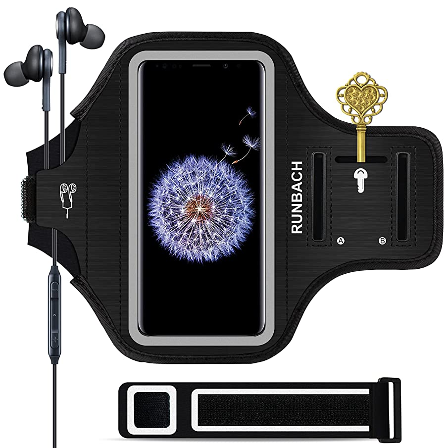 RUNBACH Galaxy S9 Plus Armband, Sweatproof Running Exercise Gym Cellphone Sportband Bag with Fingerprint Touch/Key Holder and Card Slot for Samsung Galaxy S9 Plus(Black)