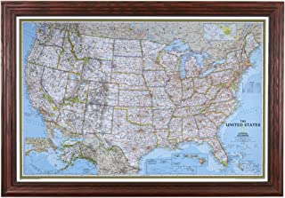 Push Pin Travel Maps Classic US with Solid Wood Cherry Frame and Pins - 27.5 inches x 39.5 inches
