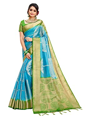 Sarees for Women Banarasi Art Silk l Tradional Indian Wedding Diwali Gift Sari with Unstitched Blouse