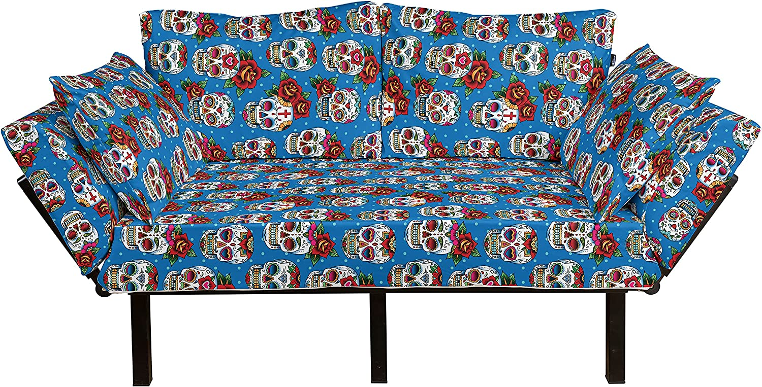 Lunarable Skull Futon Couch Mexican favorite with Culture Inspired Cash special price Roses