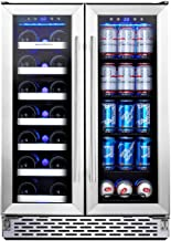 Phiestina Wine and Beverage Refrigerator | 24 Inch Built-In Dual Zone Wine Beer Cooler Refrigerator | Free Standing French...