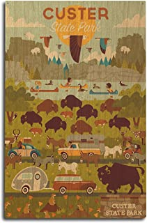 Lantern Press Custer State Park, South Dakota - Geometric (10x15 Wood Wall Sign, Wall Decor Ready to Hang)