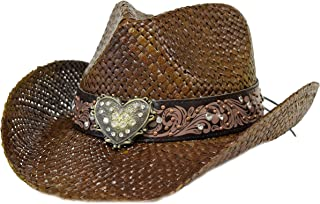 Bling Western Hat w/ Heart & Rhinestones / Chocolate