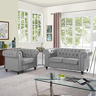 Naomi Home Emery Chesterfield Love Seat & Accent Chair Gray
