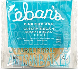 Eban's Bakehouse Gluten-Free Crispy Pecan Shortbread Cookies - Preservative Free, Non-GMO Snacks (12 Cookies, Individually Wrapped) (2 oz Per Cookie)