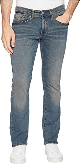 Slim Straight Stretch Denim Jeans in Blue