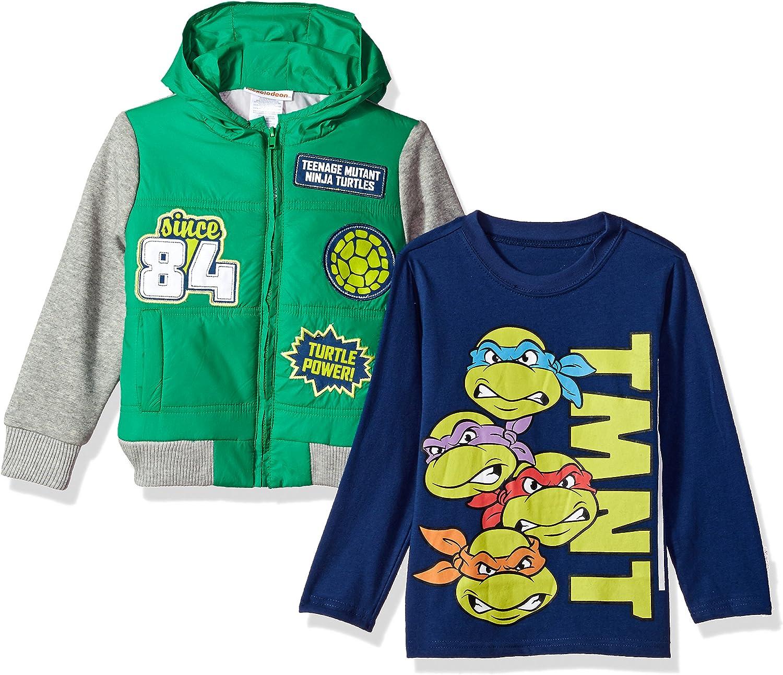 Nickelodeon Boys' 2 Piece Teenage Mutant Ninja Turtles Sherpa Jacket Set with Tee