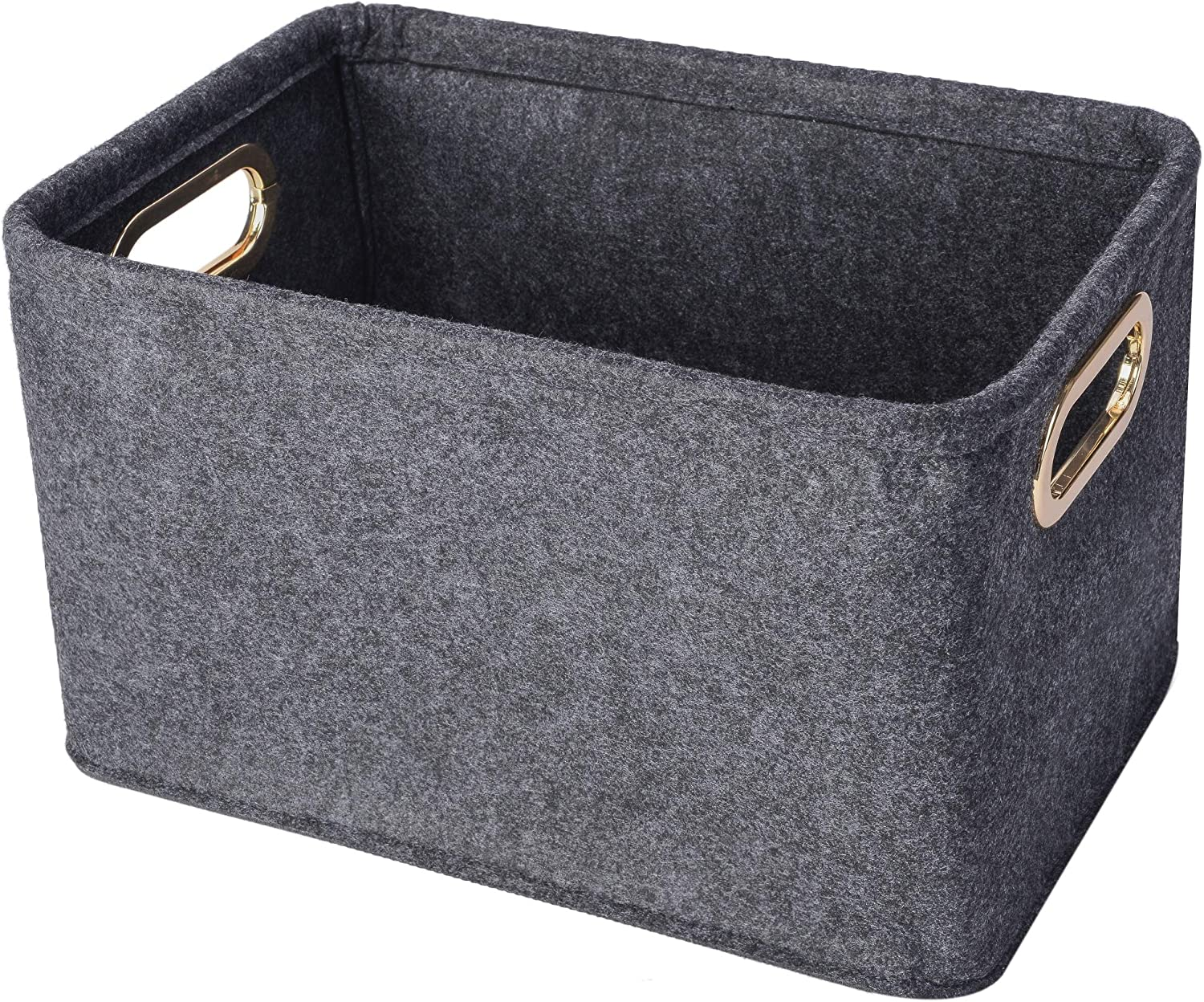 Collapsible Storage Bins Foldable Felt Fabric Storage Basket Organizer Boxes Containers with Handles Metal Handles for Nursery Toys,Kids Room,Clothes,Towels,Magazine (Dark grey)