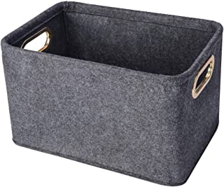 Collapsible Storage Bins Foldable Felt Fabric Storage Basket Organizer Boxes Containers with Handles Metal Handles for Nur...