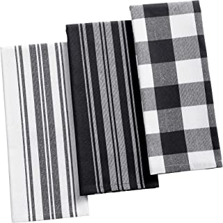 Elrene Home Fashions Farmhouse Living Stripe and Check Kitchen Towels, Set of 3, 17