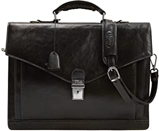 Floto Ponza Full Grain Leather Briefcase in Black