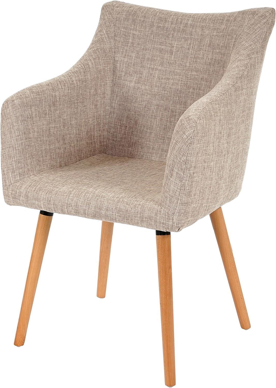 Mendler Esszimmerstuhl Malm T382, Stuhl Lehnstuhl, Retro 50er Jahre Design  Textil, Creme grau