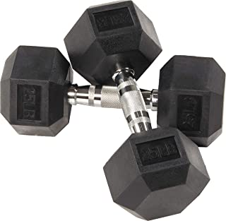BalanceFrom Rubber Encased Hex Dumbbell in Pairs, Singles or Set