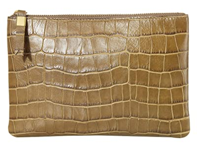 Madewell Leather Pouch Clutch in Croco (Asparagus) Handbags