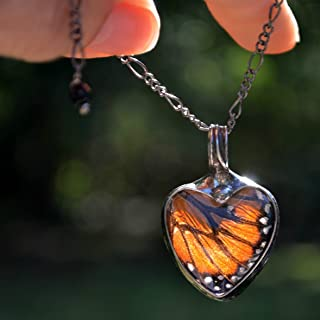 Handmade Monarch Butterfly Wing in Glass Pendant, Heart Jewelry for Women, Tiffany Artisan Necklace (2765)