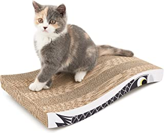 Coching Cat Scratcher Cardboard Curved Shape Scratch Pad with Unique Three Different Scratch Textures Design Durable Scratching Pad Reversible