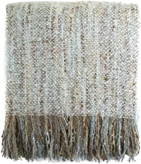 Fennco Styles Faux Mohair Shabby Chic Woven Throw Blanket with Tassel - 50