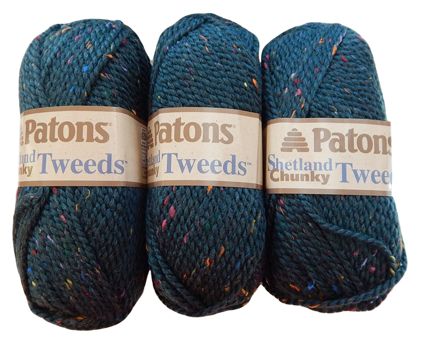 Patons Shetland Chunky Tweed Yarn Bundle ( 3 Pack) Bulky Acrylic Wool Blend, green, blue