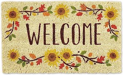 """DII Natural Coir Doormat, Welcome Mat, Sunflowers, 18X30"""""""