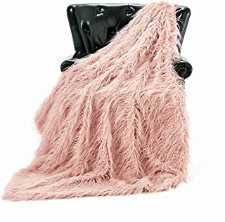 HT&PJ Luxury Faux Fur Throw Blanket Plush Long Shaggy Super Soft Throw Mongolian Fluffy Fur Style Blanket for Living Room (779A Dirty Rose 50