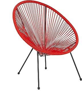 Flash Furniture Valencia Oval Comfort Series Take Ten Red Rattan Lounge Chair