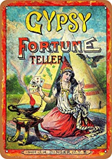 LoMall 8x12 Metal Sign - Gypsy Fortune Teller - Vintage Retro Wall Decor Art