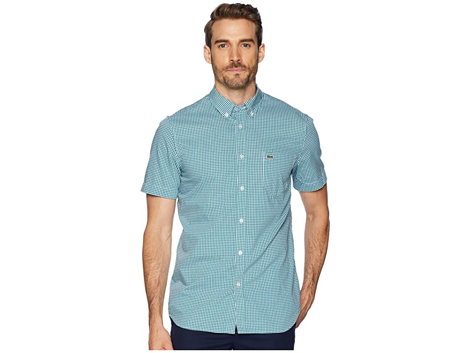 Lacoste Short Sleeve Regular Fit Gingham Poplin Button Down (Bailloux/White) Men