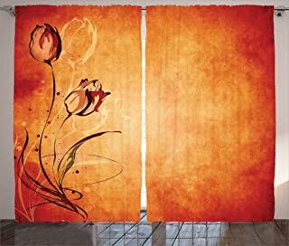 Ambesonne Antique Curtains, Vintage Aged Background with The Silhouette of Rose Bloom Digital Image, Living Room Bedroom Window Drapes 2 Panel Set, 108