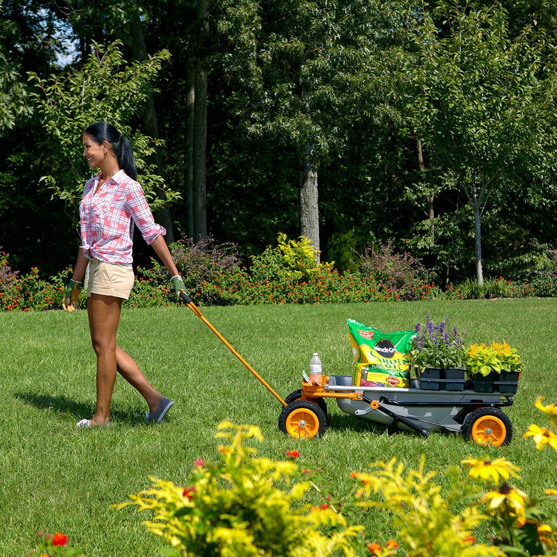 Woman Using the Worx Aerocart Wheelbarrow (Cart Configuration)