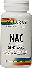 Solaray NAC N-Acetyl-L-Cysteine Supplement, 600 mg, 60 Count