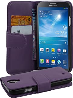 Cadorabo Case Works with Samsung Galaxy MEGA 5.8 in Pastel Purple (Design Book Smooth) – with 2 Card Slots – Wallet Case Etui Cover Pouch PU Leather Flip