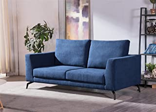 Aonier Mid-Century Fabric Sofa Lovesat Couch Silk-Filled Performance Sofa Ecru 3-Seat Sofa, Modern Living Room Couch with Sturdy Wood Frame Construction Blue