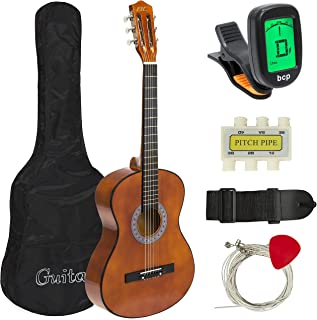 Best Choice Products 38in Beginner Acoustic Guitar Starter Kit w/Case, Strap, Tuner, Pick, Strings - Brown