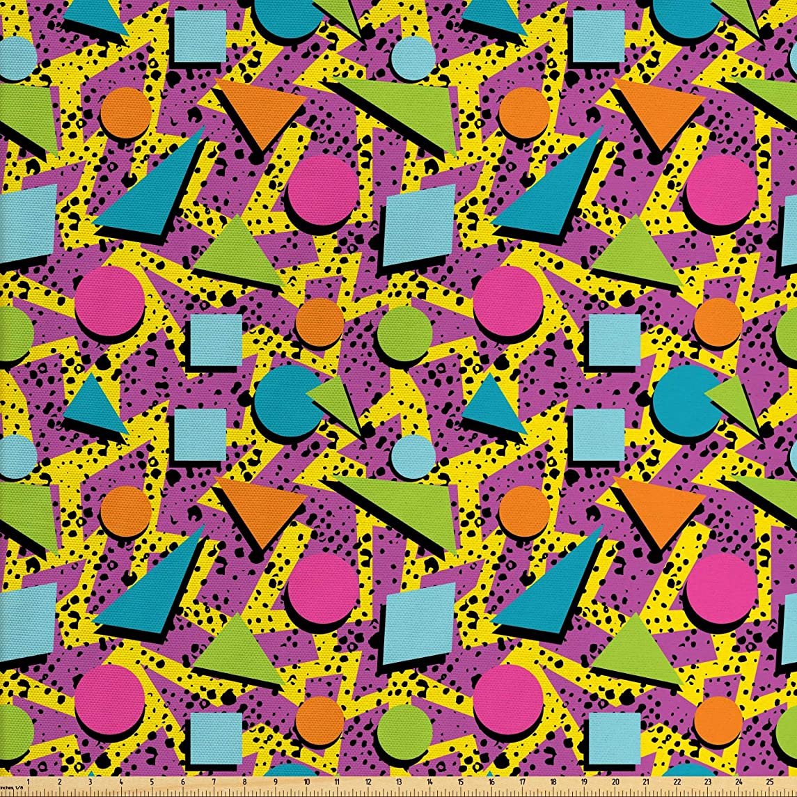 Lunarable Colorful Fabric by The Yard, Vibrant Colored Vintage Memphis Pattern in Eighties Fashion Funky Hipster Art, Decorative Fabric for Upholstery and Home Accents, 1 Yard, Multicolor