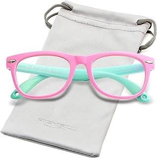 Blue Light Blocking Glasses for Kids TPEE Rubber Flexible Eyeglasses Frame with Glasses Rope, for Children Age 2-10