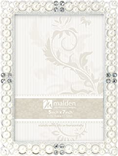 Malden International Designs Sebring Silver Pearls Picture Frame, 5x7, Silver