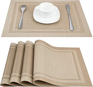 Artand Placemats, Heat-Resistant Placemats Stain Resistant Anti-Skid Washable PVC Table Mats Woven Vinyl Placemats, Set of 6 (Beige)