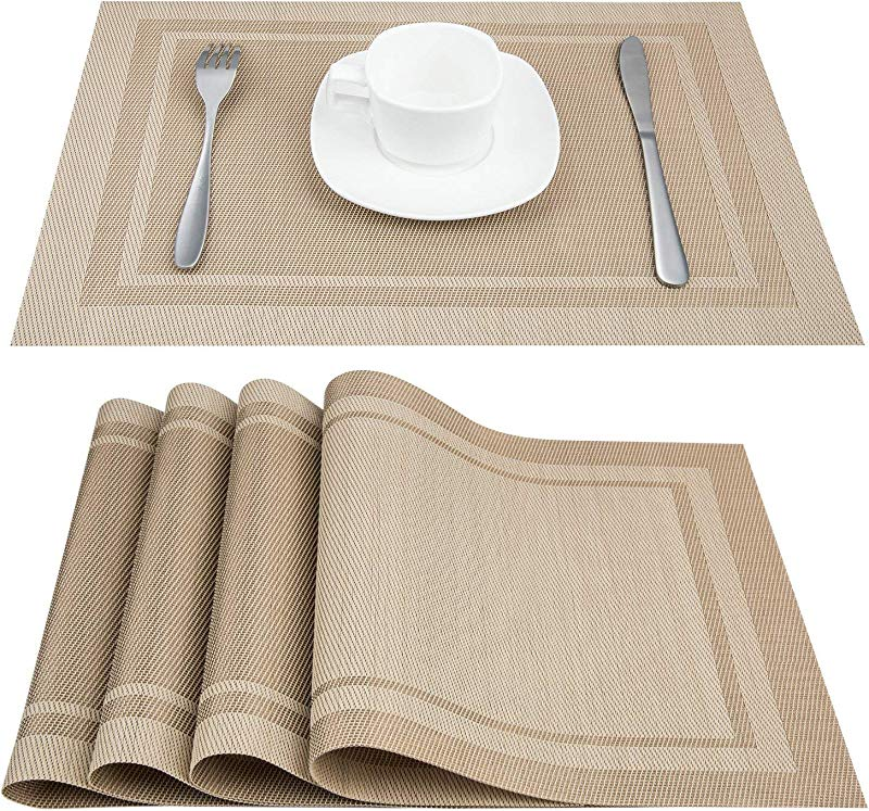 Artand Placemats Heat Resistant Placemats Stain Resistant Anti Skid Washable PVC Table Mats Woven Vinyl Placemats Set Of 6 Beige