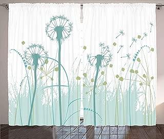 Ambesonne Spring Curtains, Silhouette Dandelion Floral Foliage Seasonal Blooms Botany Eco Illustration, Living Room Bedroom Window Drapes 2 Panel Set, 108