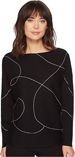 Vince Camuto - Dolman Sleeve Ink Swirl Ribbed Sweater