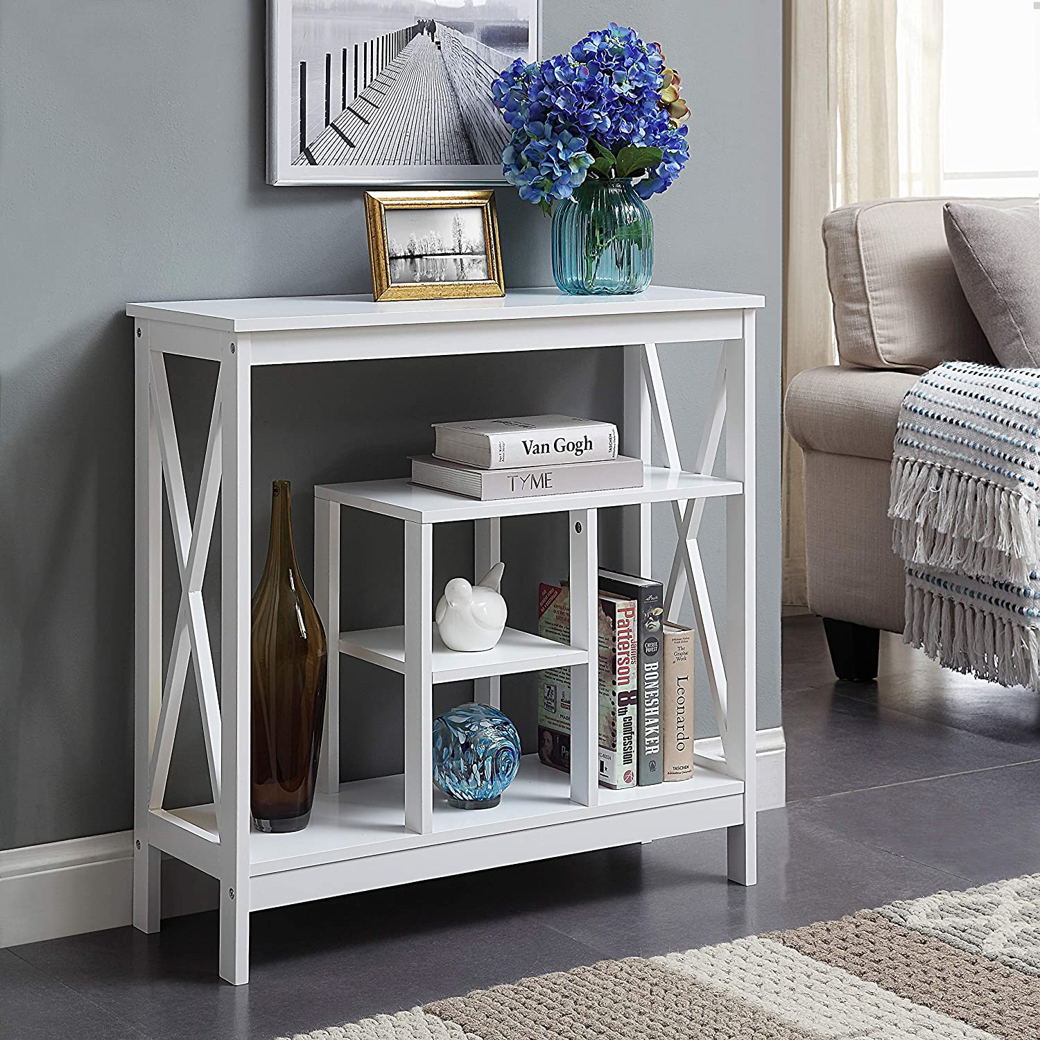 White Finish 4-Tier Ranking TOP11 X-Design Occasional Sofa Table Console Books 5 ☆ very popular