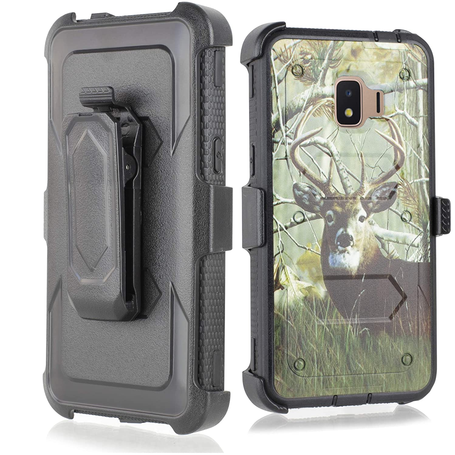Compatible for Galaxy J2 core Case,Galaxy J2 Dash/J2 Pure/J260 case, w/Built-in [Screen Protector] Heavy Duty Full-Body Armor Case [Belt Clip Holster][Kickstand] (Deer)