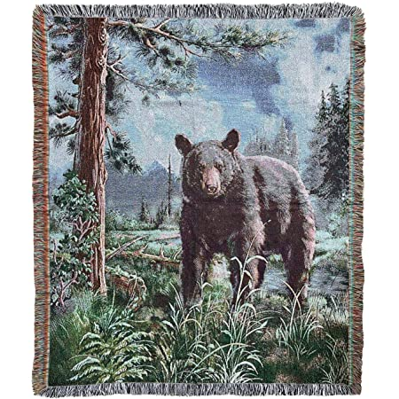 Bear Lodge Woven Tapestry Throw Blanket with Fringe 50 X 60 Inches