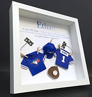 Personalized Baby Name Origin and Meaning Paper Origami Baseball Toronto  Blue Jays Shadowbox Frame Newborn Baby 09b54e283a1c