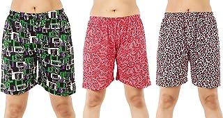 MUKHAKSH (Pack of 3 Women's/Girls/Ladies Hot Soft Cotton Printed Shorts/Lounge Shorts/Night Shorts/Nikar, Prints May Vary