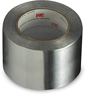 3M Linered Aluminum Foil Tape 3380 Silver, 72 mm x 45 m (Pack of 1)