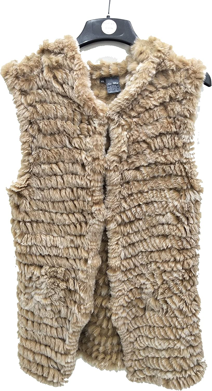 Hima Real Knitted Rabbit Fur Long Vest Hooks